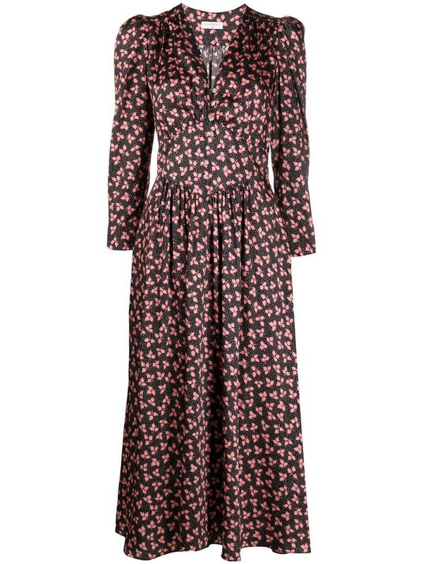 Sandro Paris floral print midi dress in black