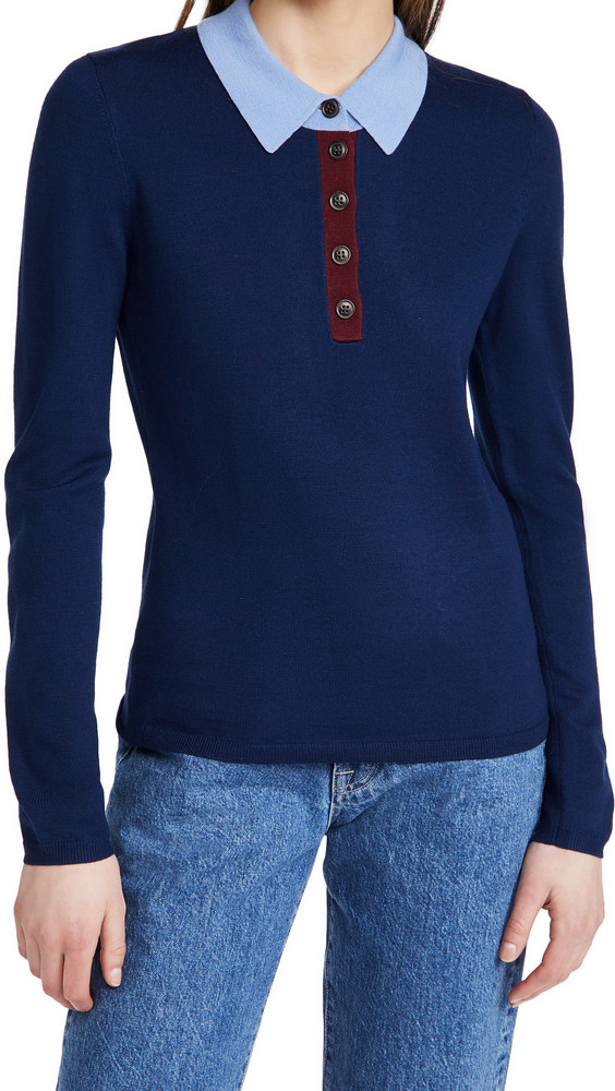 Jason Wu Polo Sweater Top in blue