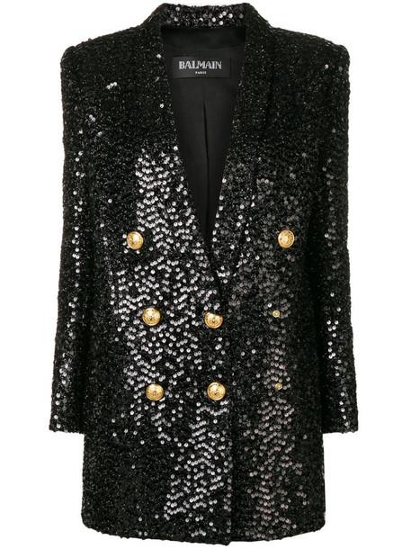 Balmain sequin blazer dress in black