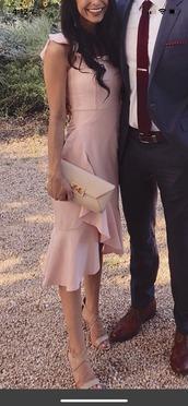dress,pink dress,ruffle,midi dress,wedding,wedding guest,sleeveless,pink,Rufflesleeve,midi,ruffle dress,ruffle straps