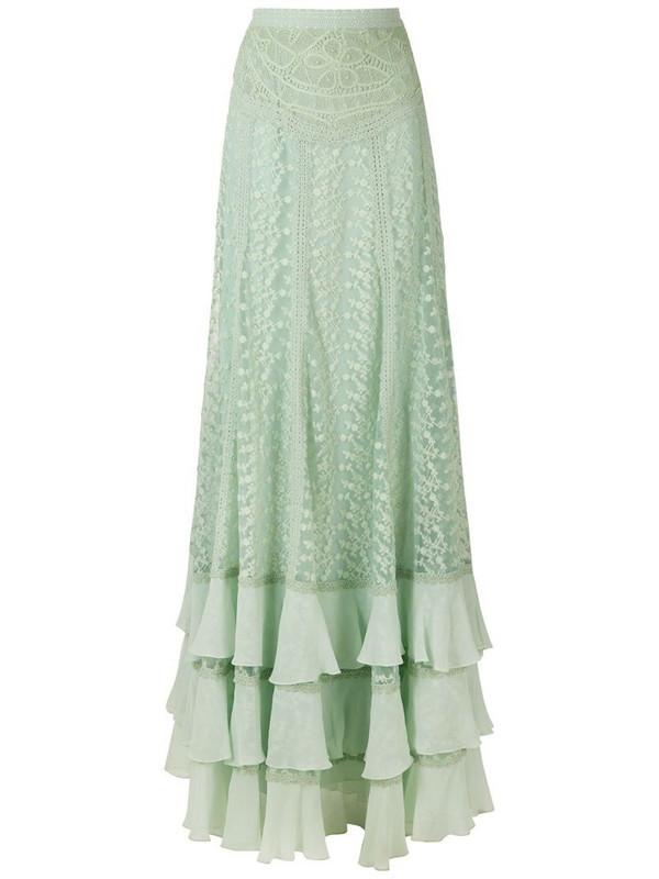 Martha Medeiros Edith lace long skirt in green