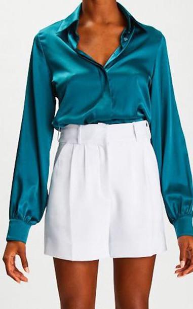 Sergio Hudson Silk Button-Up Blouse in blue