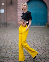 pants,flare pants,yellow pants,zara,black boots,black t-shirt,louis vuitton bag