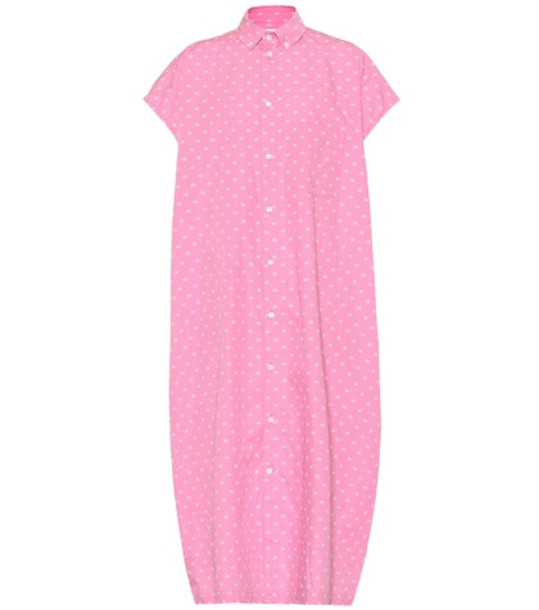 Balenciaga BB cotton shirt dress in pink