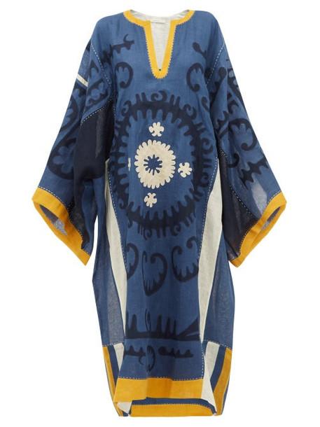 Vita Kin - Santal Floral Appliqué Linen Dress - Womens - Blue Multi