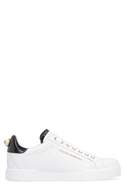 Dolce & Gabbana Leather Low-top Sneakers in white