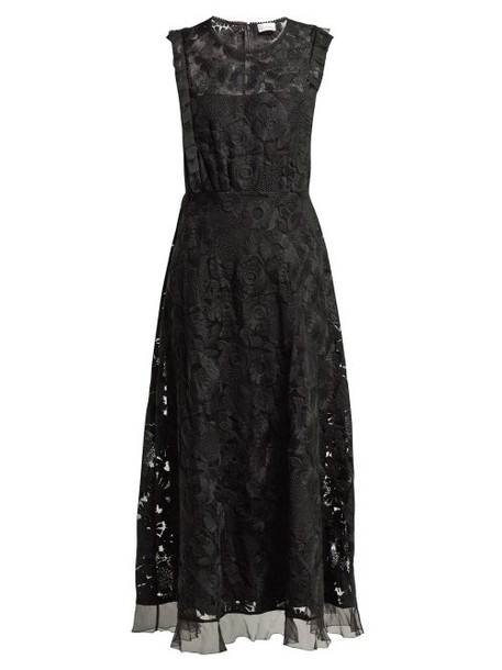 Redvalentino - Floral Embroidered Tulle Dress - Womens - Black