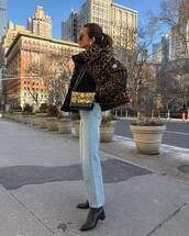 jacket,bomber jacket,leopard print,black boots,straight jeans,moncler,crossbody bag,black top