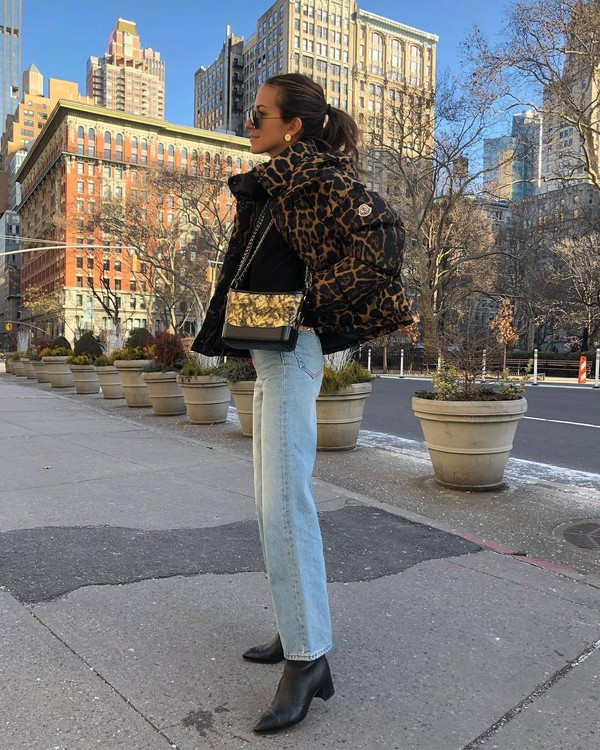 jacket bomber jacket leopard print black boots straight jeans moncler crossbody bag black top