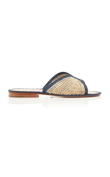 Carrie Forbes Salon Miste Raffia Slides in navy