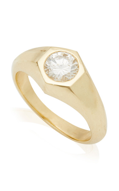 Lizzie Mandler Hexagon Pinky Ring with Round White Diamond in gold