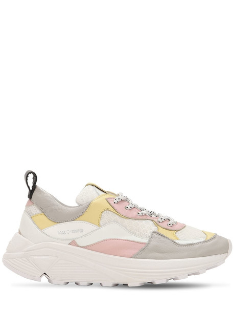 AMA BRAND Leather & Mesh Platform Sneakers in pink / yellow