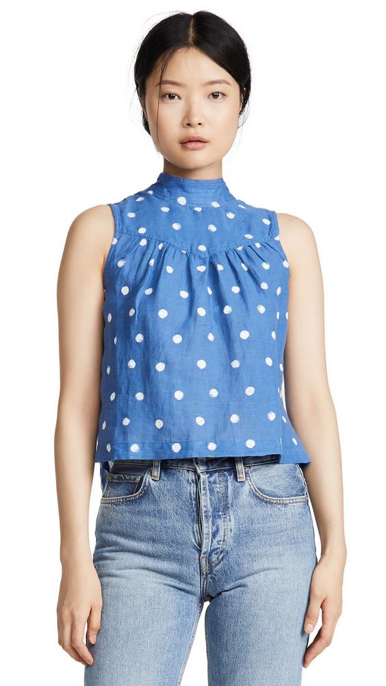 Bella Dahl Sleeveless Mock Neck Button Back Blouse in blue