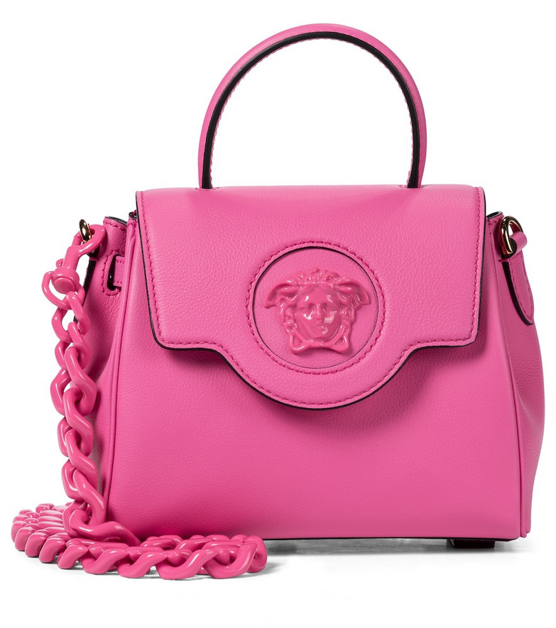 Versace La Medusa Small leather tote in pink