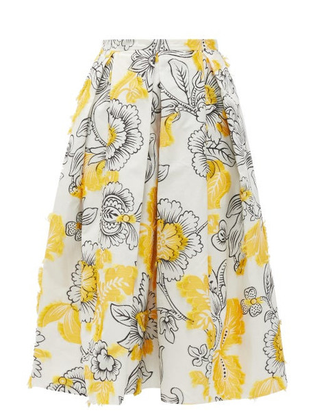 Erdem - Ina Floral Fil-coupé Cotton-blend Skirt - Womens - Yellow White