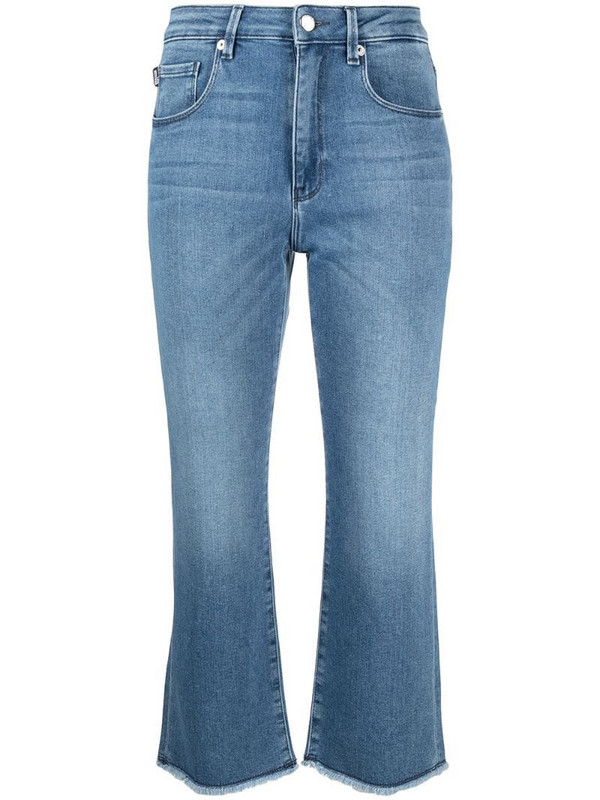 Love Moschino mid rise kick flare cropped jeans in blue