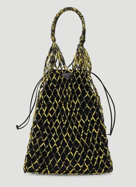 Prada Printed Nylon Mesh Bag in Yellow size One Size