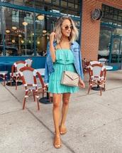 dress,mini dress,blue dress,sleeveless dress,slide shoes,denim jacket,ysl bag