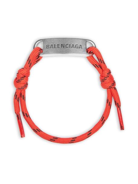Balenciaga logo-plaque shoelace bracelet - Silver