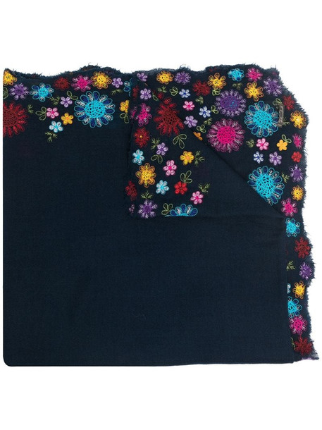 Faliero Sarti floral-embroidered scarf in blue