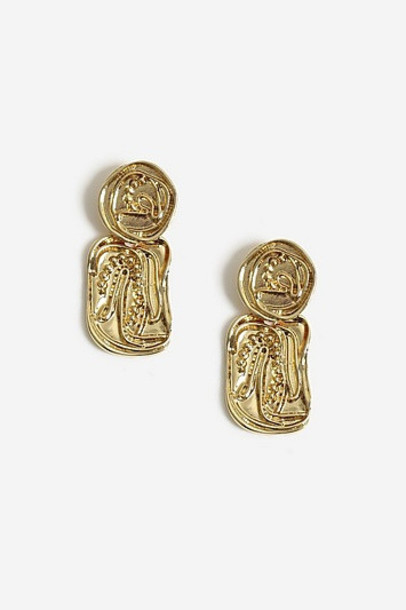 Topshop Engraved Detail Earrings - Gold