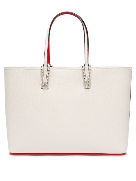 Christian Louboutin - Cabata Spike Embellished Leather Tote - Womens - White