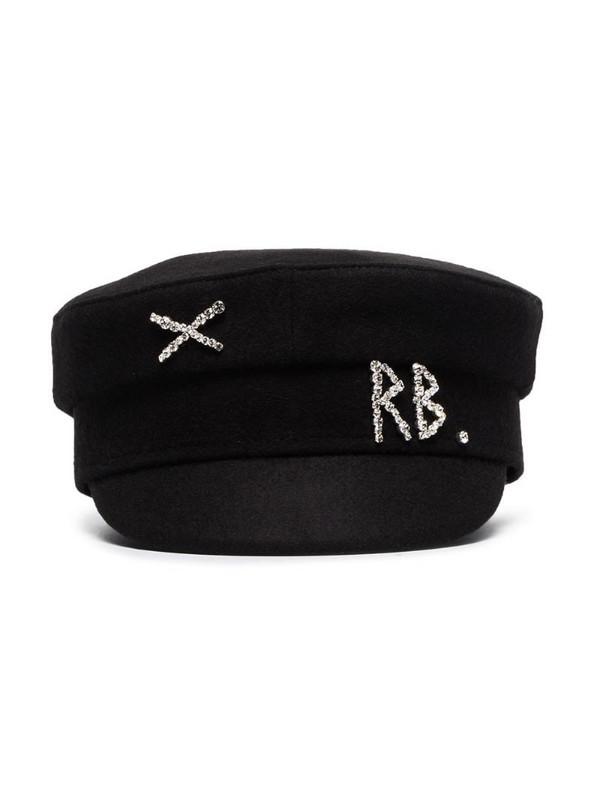 Ruslan Baginskiy crystal-embellished wool baker boy hat in black