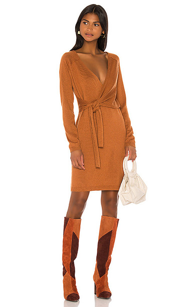 Song of Style Sammy Wrap Dress in Burnt Orange