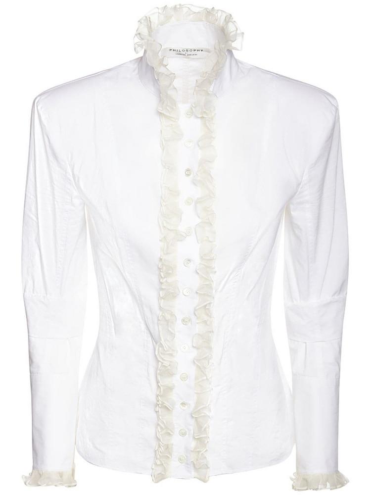 PHILOSOPHY DI LORENZO SERAFINI Ruffled Cotton Poplin Shirt in white