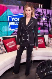 jacket,blazer,black blazer,ashley tisdale,celebrity,pants
