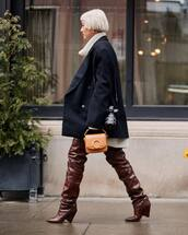 shoes,over the knee boots,ysl,handbag,black coat,double breasted,oversized coat,turtleneck sweater,white sweater,oversized sweater