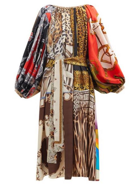 Rianna + Nina Rianna + Nina - Patchwork Gathered-neck Vintage-silk Dress - Womens - Multi
