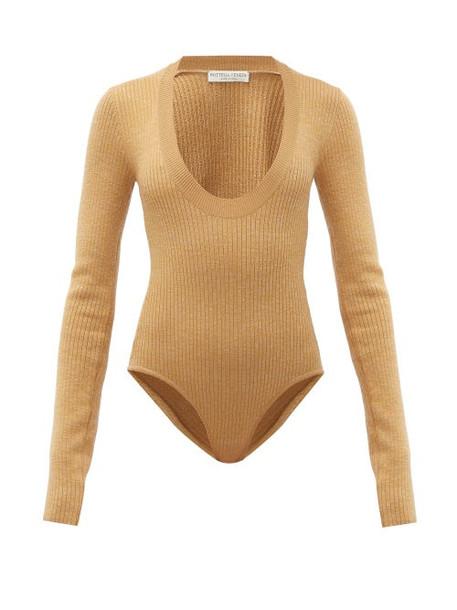 Bottega Veneta - Scoop Neck Wool Blend Bodysuit - Womens - Camel