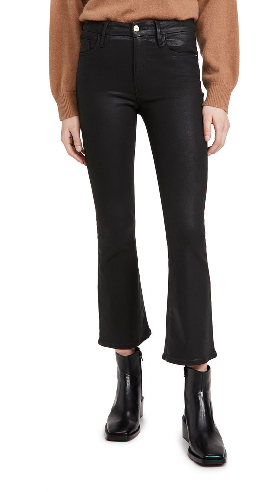 FRAME Le Crop Mini Boot Coated Jeans in noir