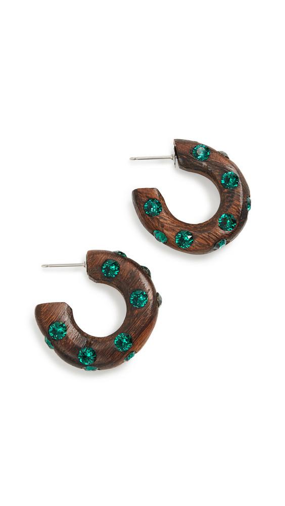 Oscar de la Renta Small Wood & Crystal Hoop Earrings in emerald
