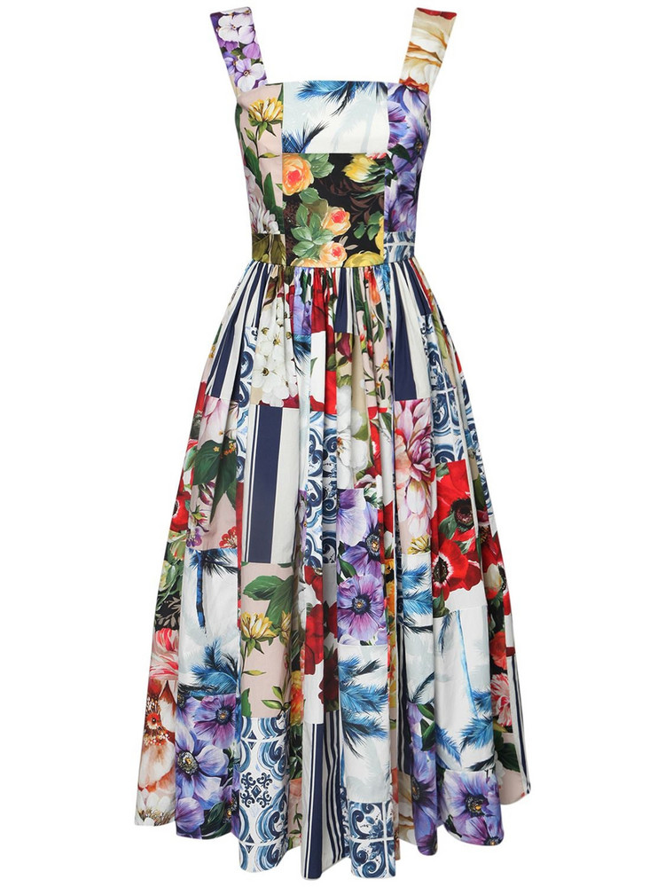 DOLCE & GABBANA Patchwork Cotton Poplin Midi Dress