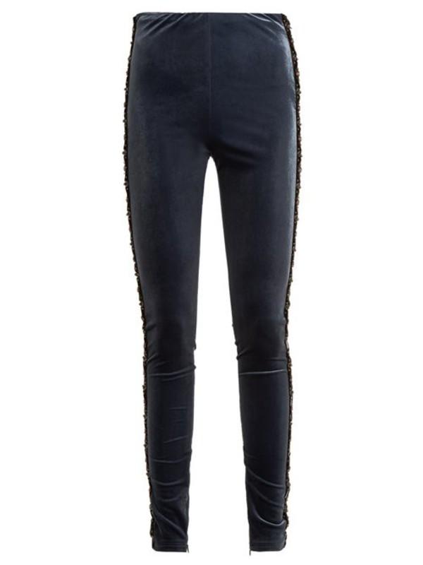 Koché Koché - Bead Embellished Velvet Leggings - Womens - Navy
