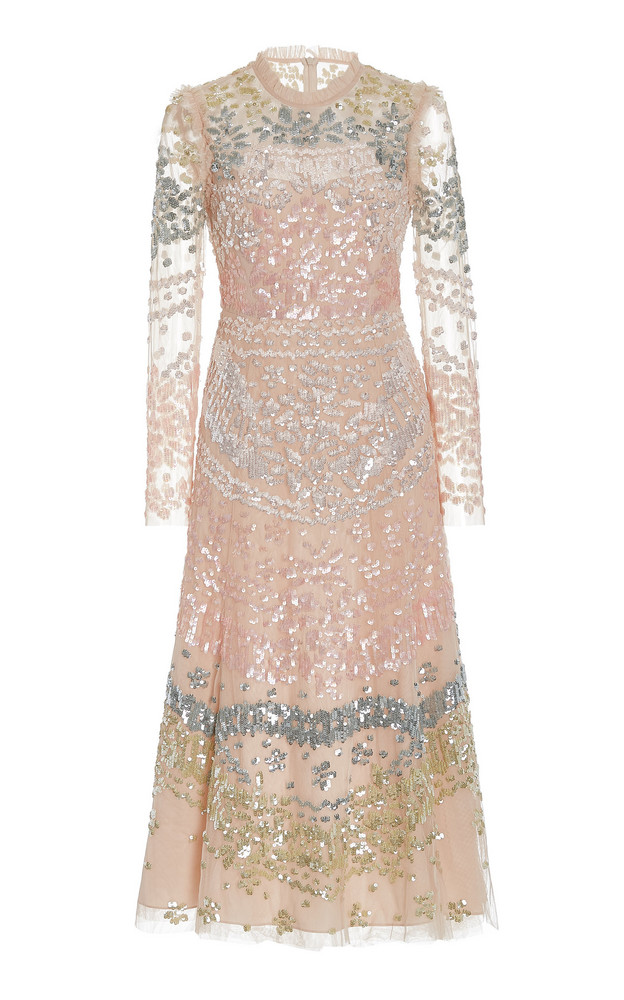 Needle & Thread Angeline Sequined Tulle Midi Dress in pink