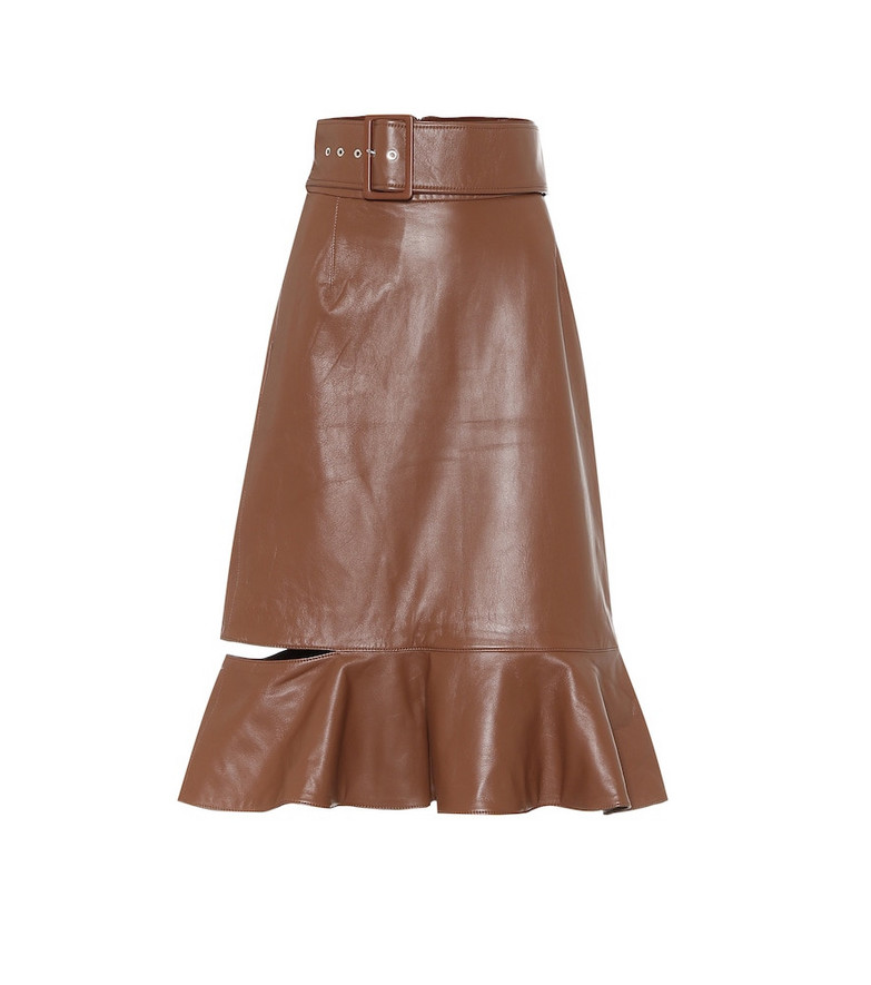 Rokh High-rise leather midi skirt in brown