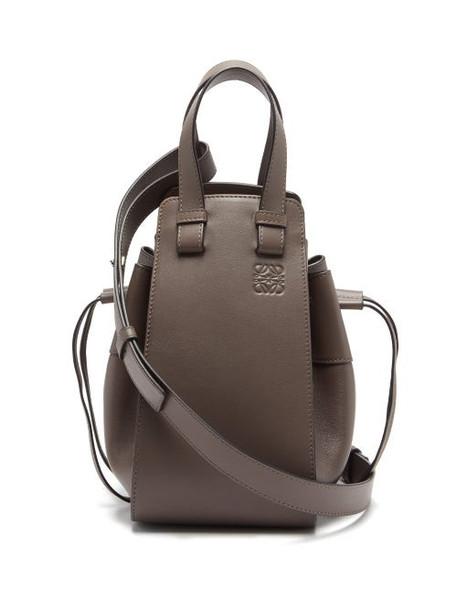 Loewe - Hammock Small Leather Bag - Womens - Dark Grey