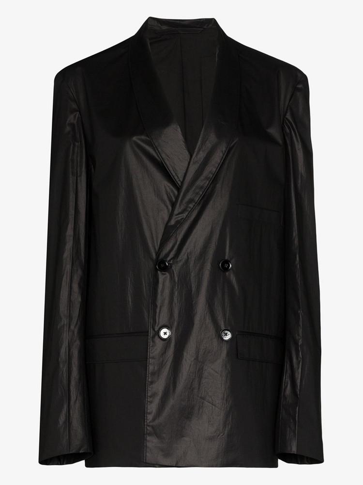 Kenneth Ize taffeta double-breasted blazer in black