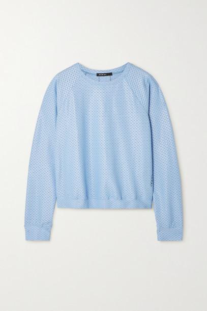 KORAL - Sofia Shiny Netz Mesh-trimmed Coated Stretch-jersey Top - Blue