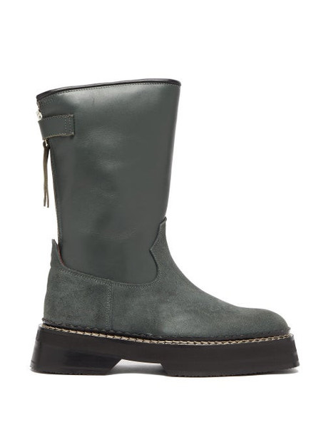 Eytys - Tucson Square Toe Leather And Suede Boots - Womens - Dark Green