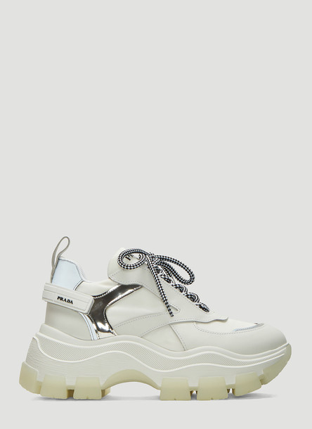 Prada Pegasus Leather Sneakers in White size EU - 38