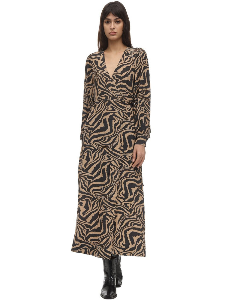 GANNI Printed Crepe Wrap Dress in black / brown