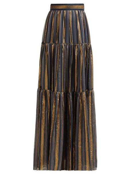 Peter Pilotto - Striped Chiffon Maxi Skirt - Womens - Gold Multi