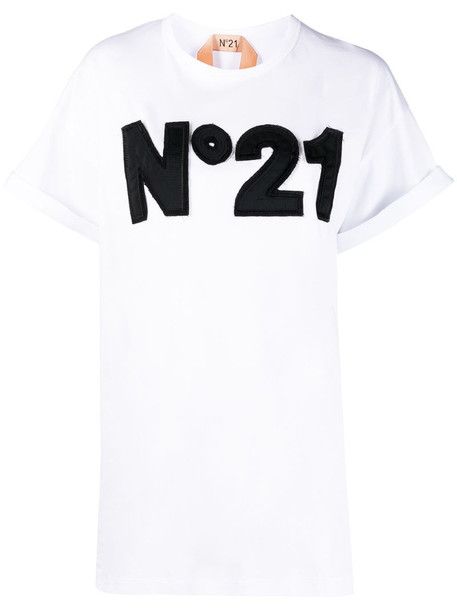Nº21 logo-embroidered crew-neck T-shirt in white