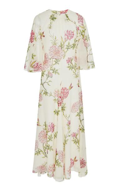 Giambattista Valli Floral-Print Silk-Chiffon Midi Dress Size: 44
