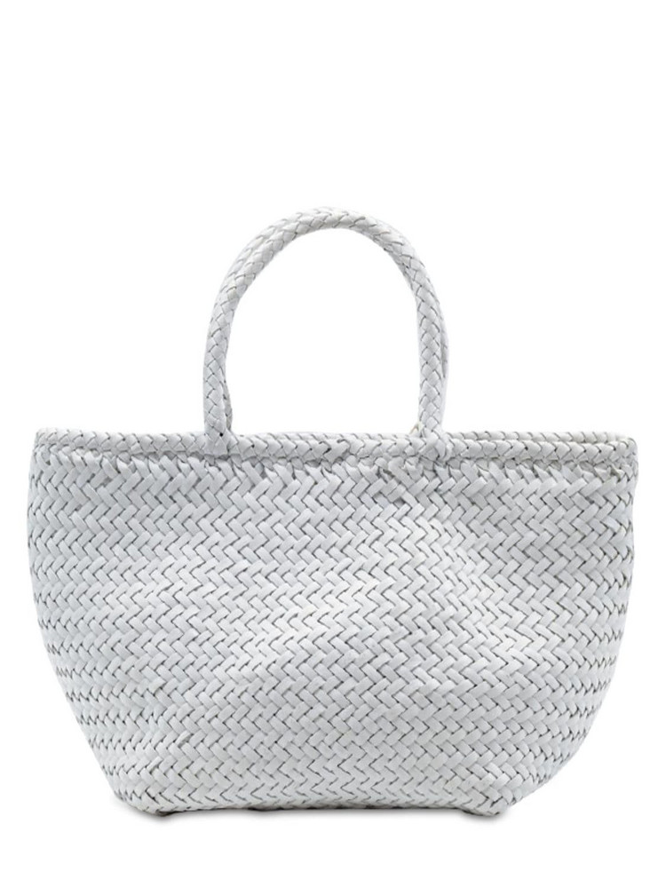 DRAGON DIFFUSION Grace Small Woven Leather Basket Bag in white