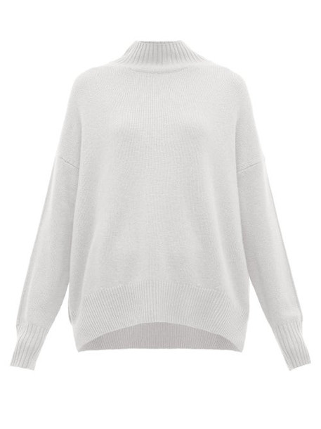 Allude - Funnel Neck Cashmere Sweater - Womens - Light Blue